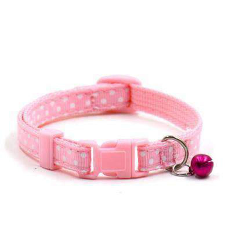Polka Dot Cat Collar with Bell Collars and Leads Oberlo US Pink