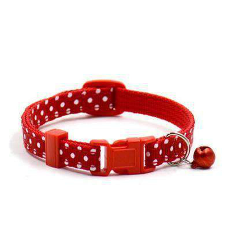 Polka Dot Cat Collar with Bell Collars and Leads Oberlo US Red