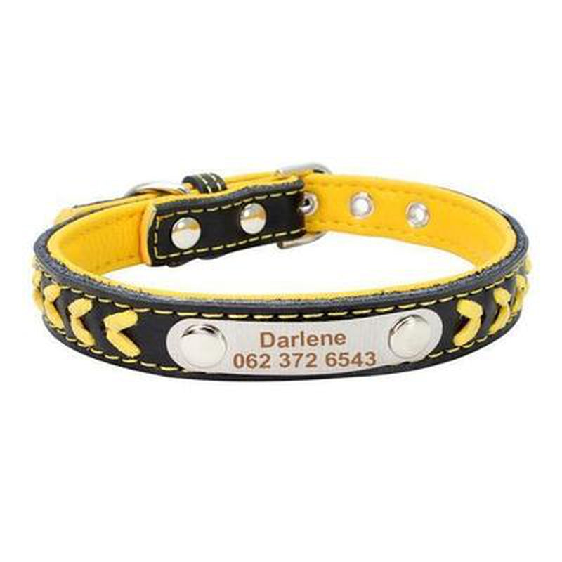 Personalized Leather Dog Collar Collars and Leads Oberlo yellow XS