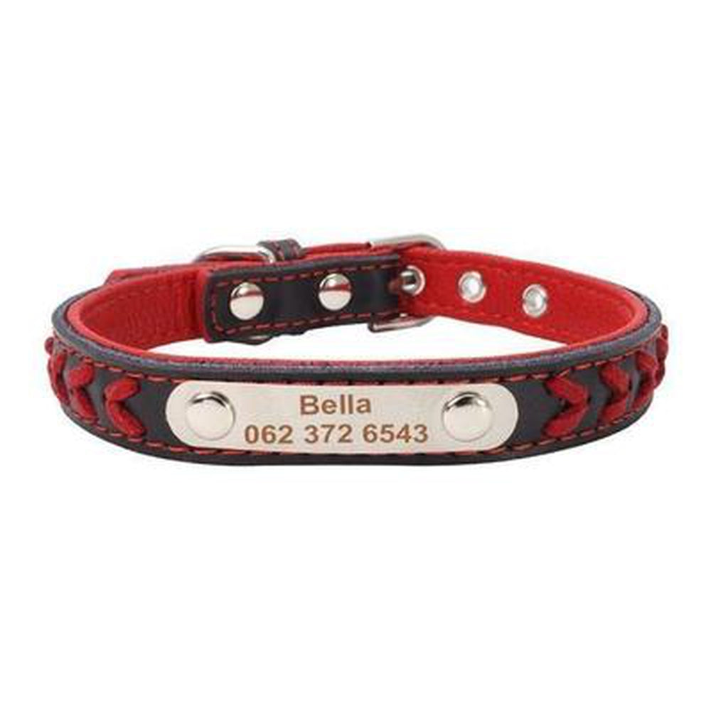 Personalized Leather Dog Collar Collars and Leads Oberlo red XS