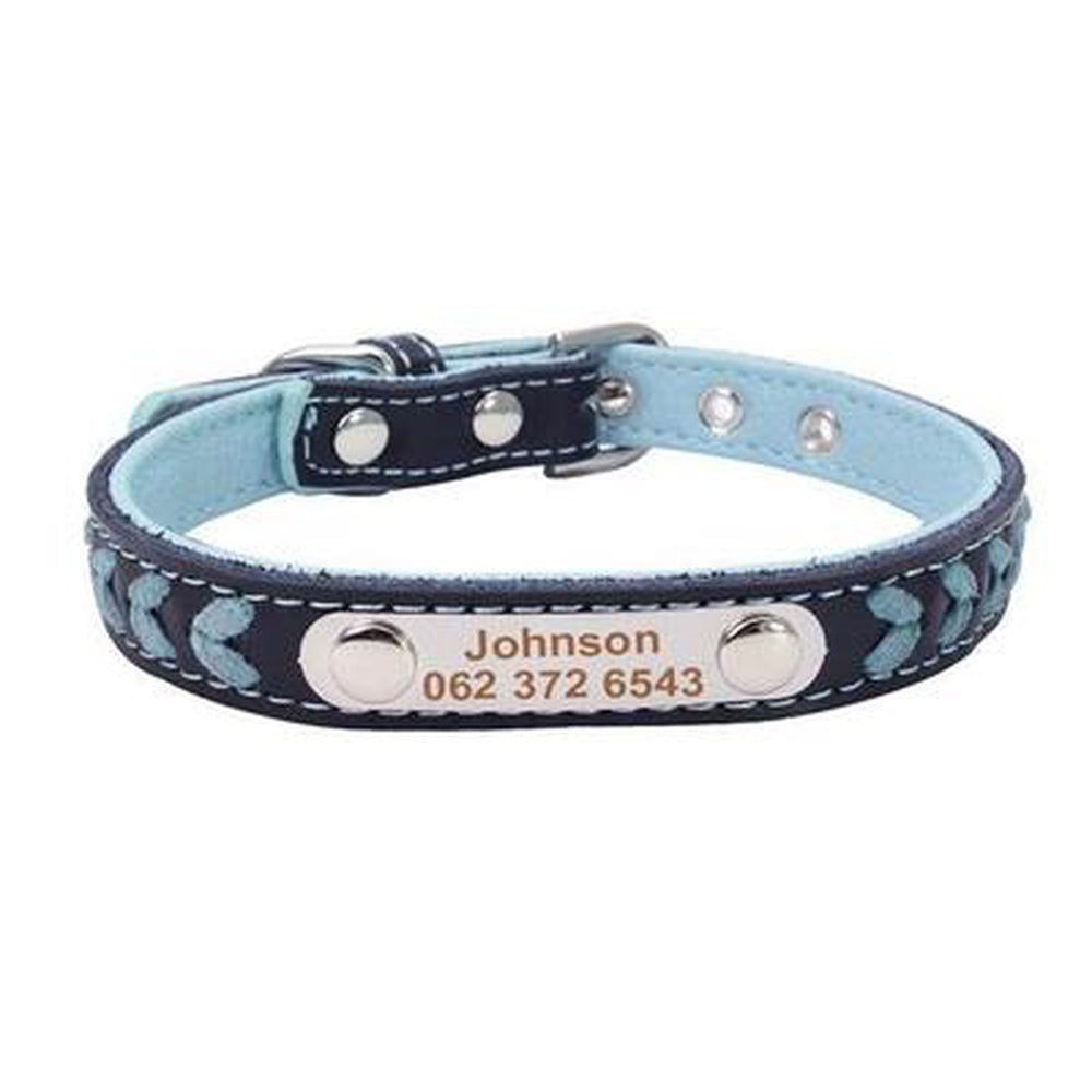 Personalized Leather Dog Collar Collars and Leads Oberlo blue XS