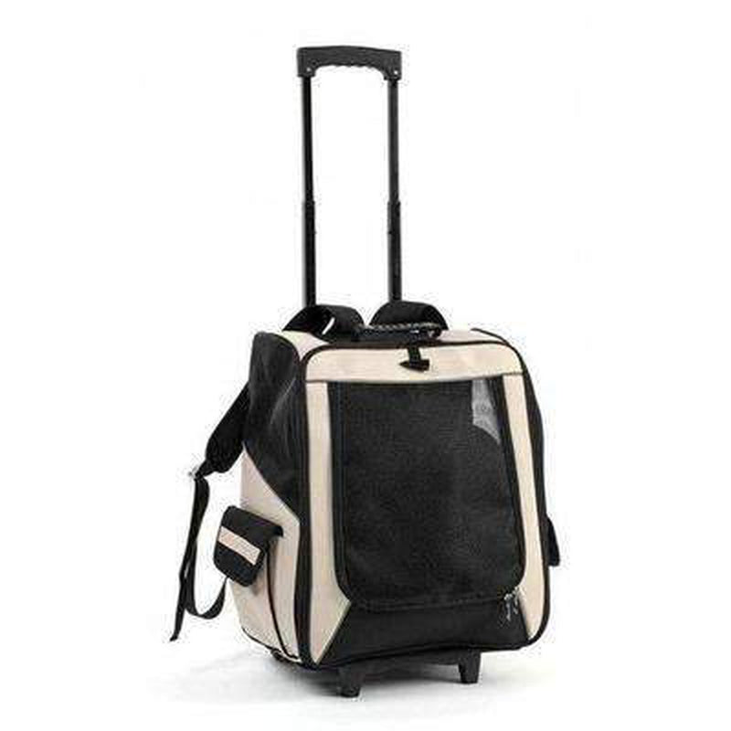 On-The-Go Rolling Backpack Pet Carrier Pet Accessories Oberlo Beige
