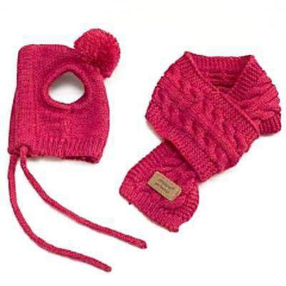 Woolly Dog Hat and Scarf Set Pet Accessories Oberlo Red S