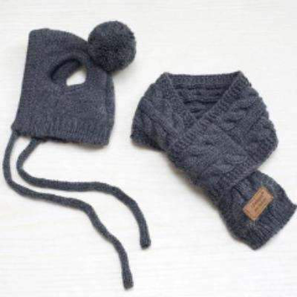 Woolly Dog Hat and Scarf Set Pet Accessories Oberlo Gray S