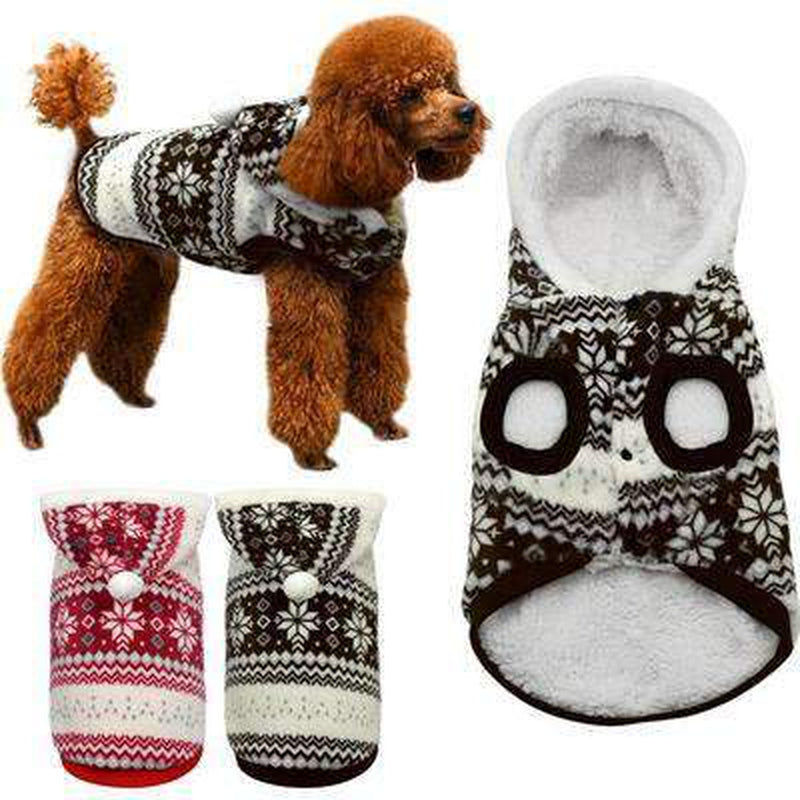 Snowflake Print Christmas Hoodie Sweater, Pet Clothes, Furbabeez, [tag]
