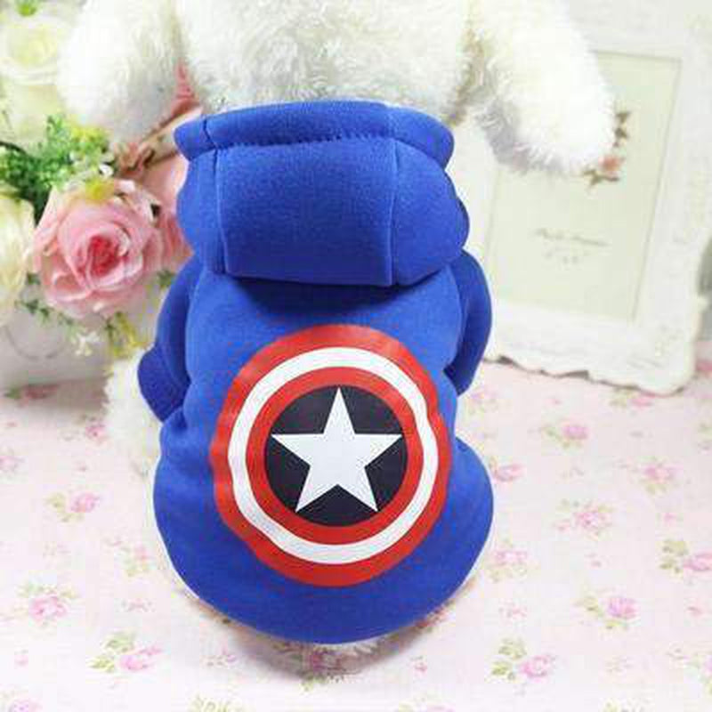 Captain America Blue Dog Hoodie, Pet Clothes, Furbabeez, [tag]