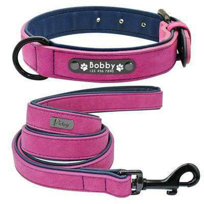 Personalized Leather Dog Collar Leash Set Collars and Leads Oberlo Purple S