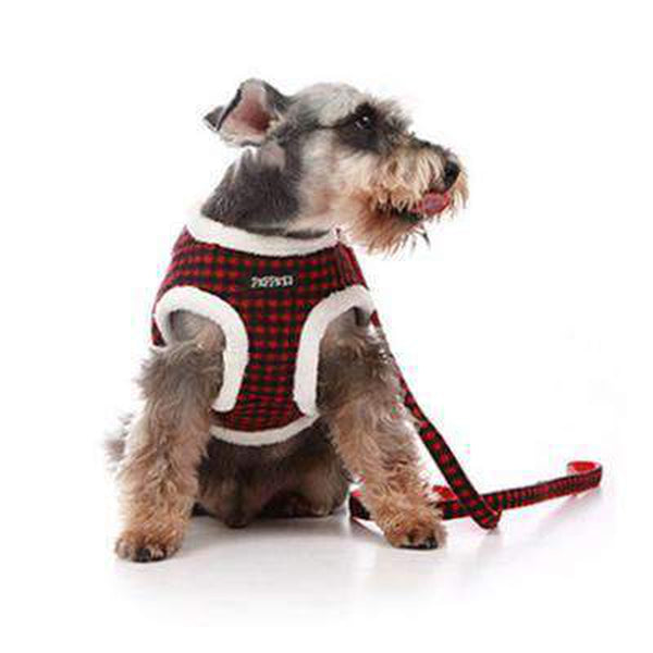 Winter Checkered Fleece Harness Collars and Leads Oberlo red size 1