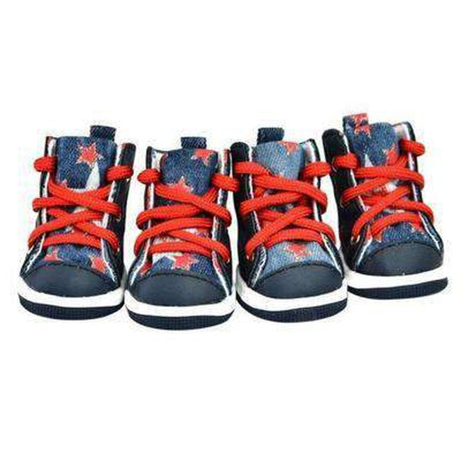 Converse Dog Shoes - Denim and Red Stars, Pet Clothes, Furbabeez, [tag]