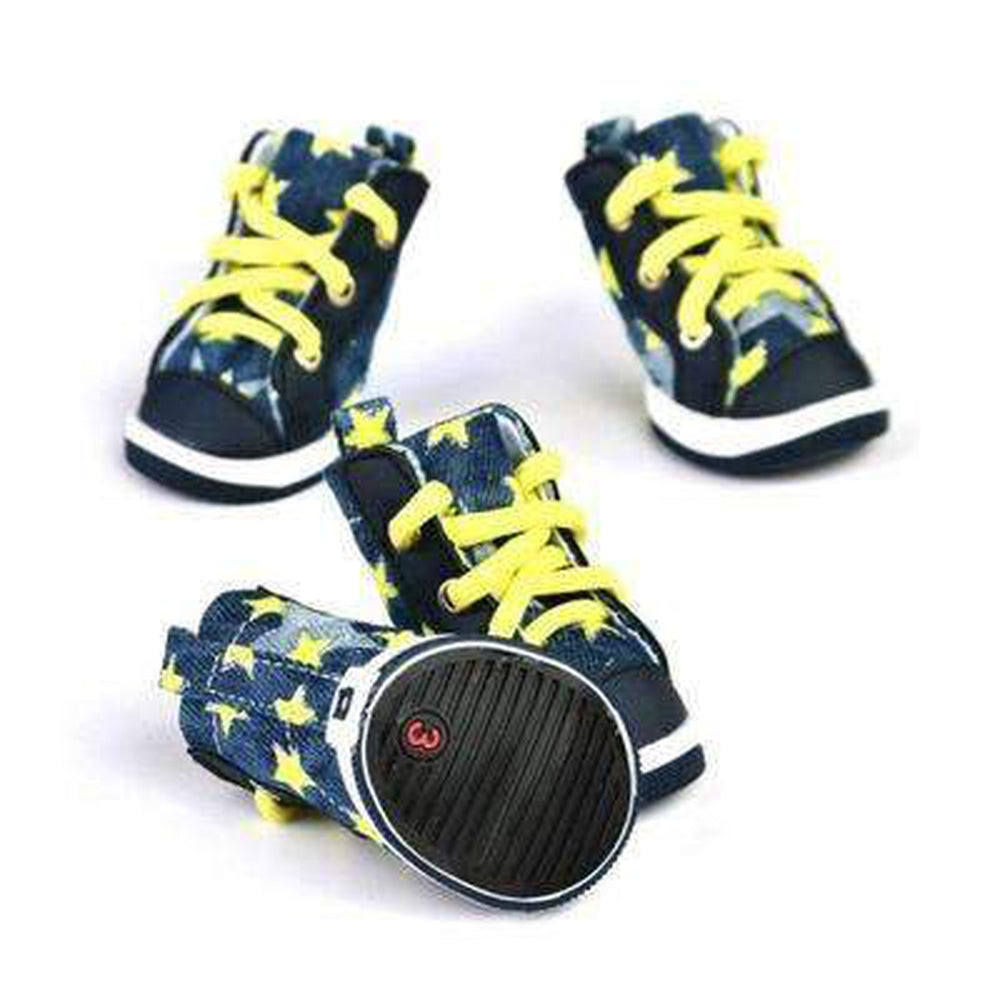 Converse Dog Shoes - Denim and Yellow Stars, Pet Clothes, Furbabeez, [tag]