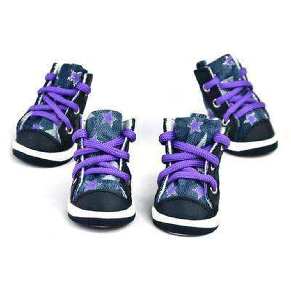 Converse Dog Shoes - Denim and Purple Stars, Pet Clothes, Furbabeez, [tag]