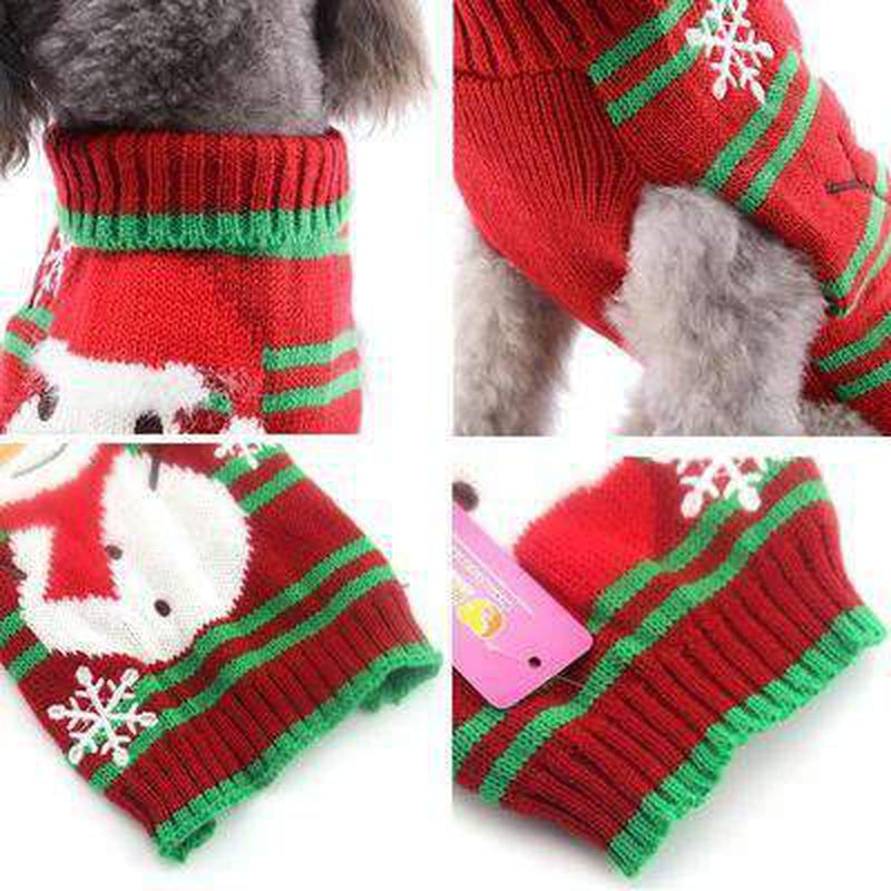 Striped Snowman Dog Christmas Sweater Pet Clothes Oberlo