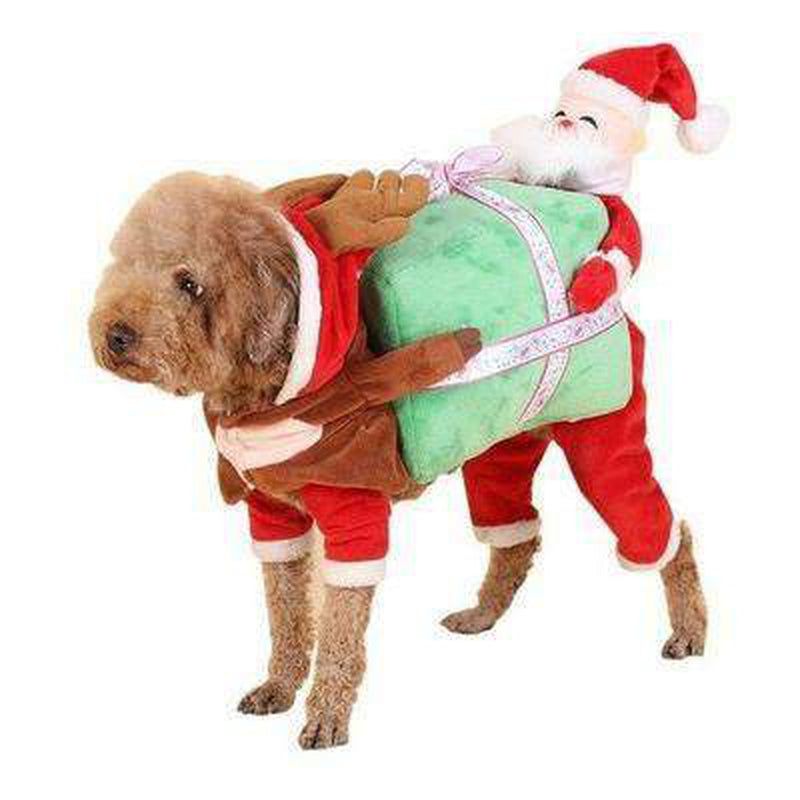 Santa Claus Dog Carrying Present Costume, Pet Clothes, Furbabeez, [tag]