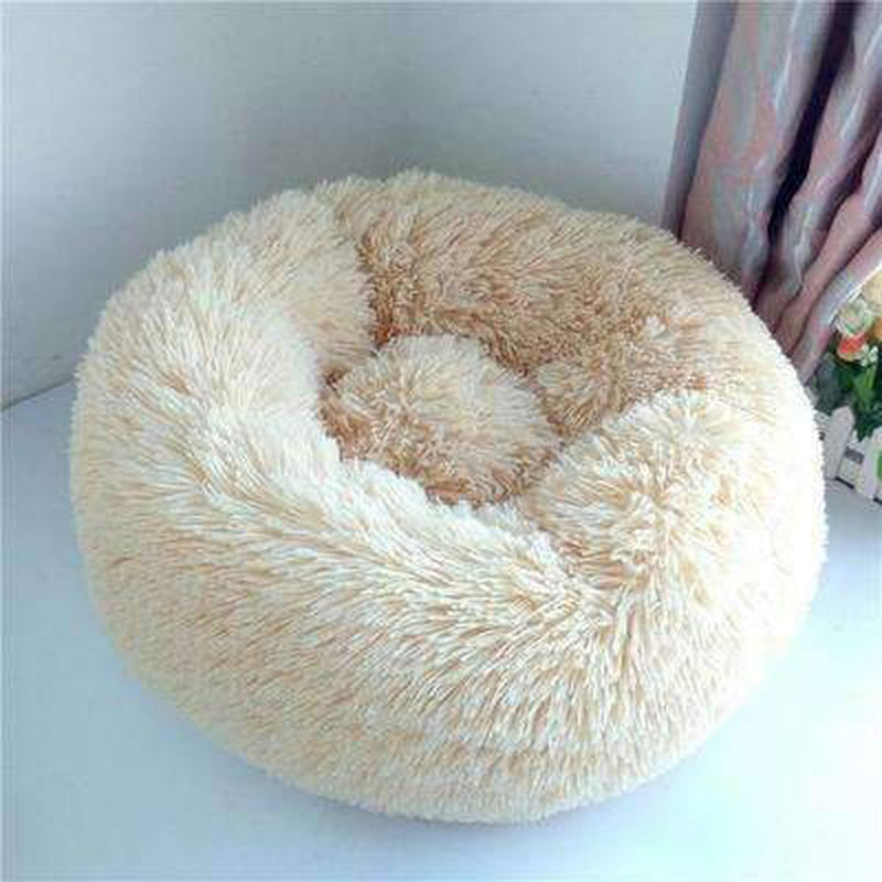 Warm Luxury Donut Dog Bed Pet Bed Oberlo taupe S