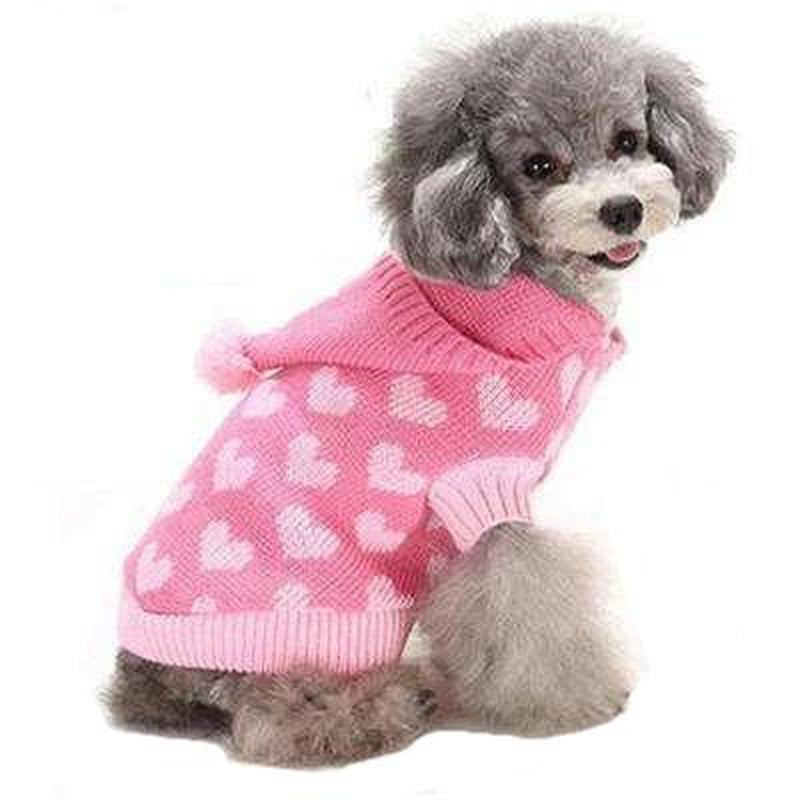 Pom Pom Love Heart Dog Sweater Pet Clothes Oberlo Pink XS
