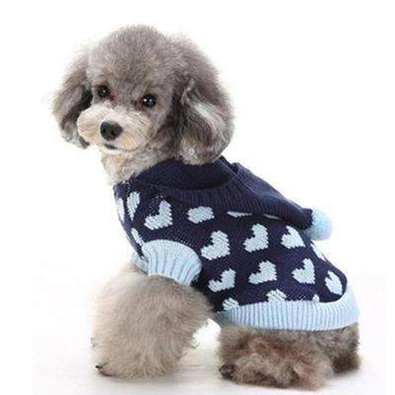 Pom Pom Love Heart Dog Sweater Pet Clothes Oberlo Navy Blue XS