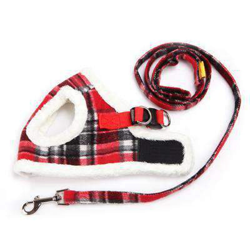 Soft Fur Plaid Pet Winter Harness Collars and Leads Oberlo Red 1