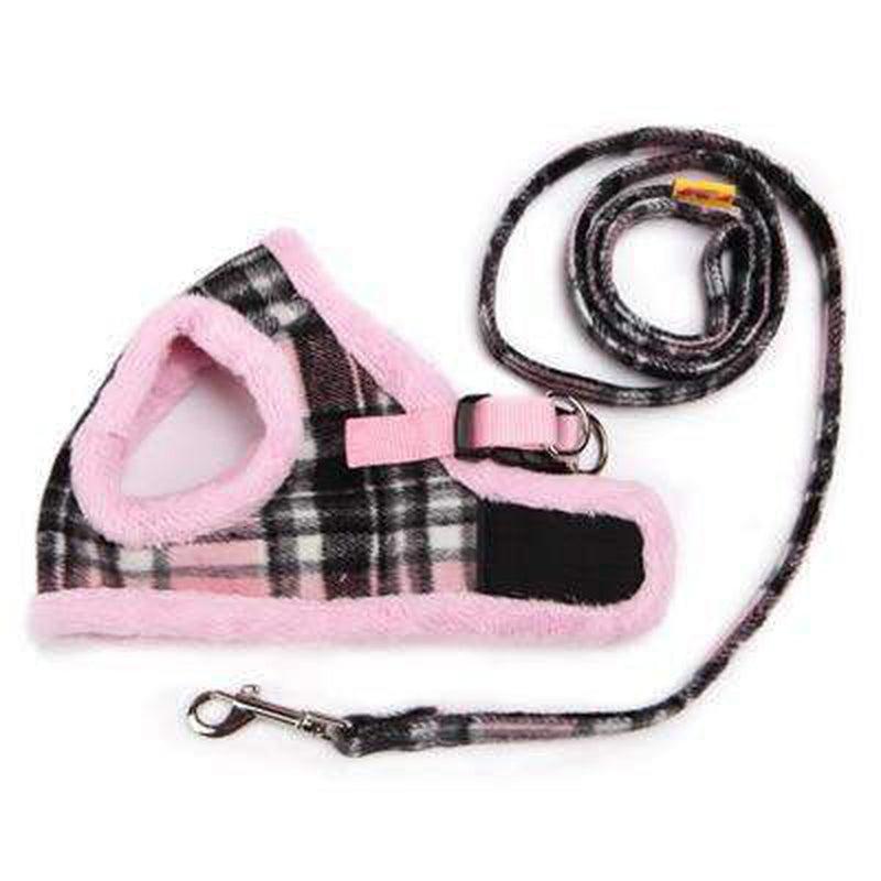 Soft Fur Plaid Pet Winter Harness Collars and Leads Oberlo Pink 1