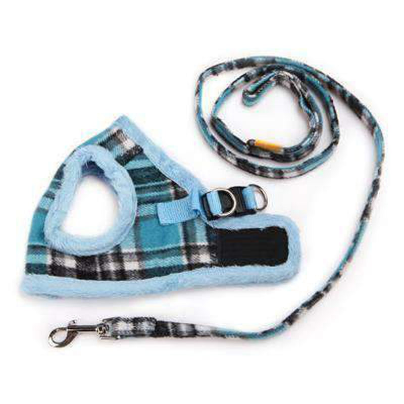 Soft Fur Plaid Pet Winter Harness Collars and Leads Oberlo Sky Blue 1