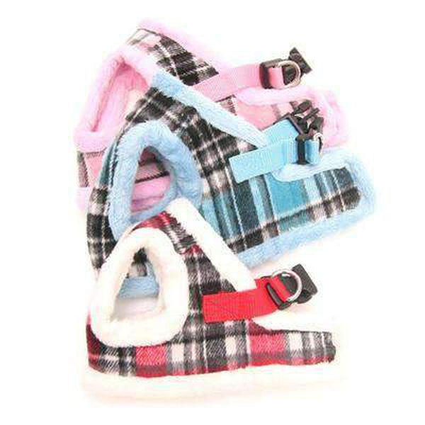Soft Fur Plaid Pet Winter Harness, Collars and Leads, Furbabeez, [tag]