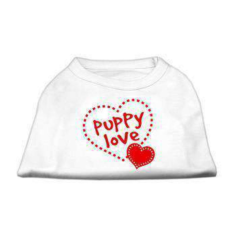 Puppy Love Screen Print Dog Shirt - White Pet Clothes Mirage