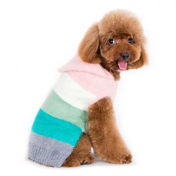 PuppyPAWer Color Stripes Dog Hoodie Sweater - Multi, Pet Clothes, Furbabeez, [tag]