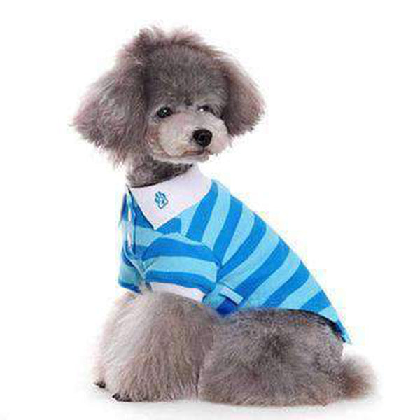 PuppyPAWer Stripe Dog Polo - Blue, Pet Clothes, Furbabeez, [tag]