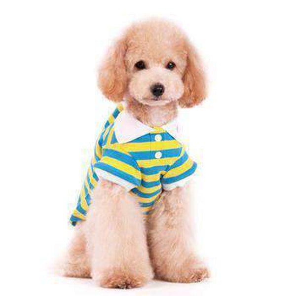 PuppyPAWer Stripe Dog Polo by Dogo - Blue and Yellow
