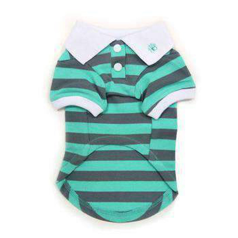 PuppyPAWer Stripe Dog Polo - Gray and Green, Pet Clothes, Furbabeez, [tag]