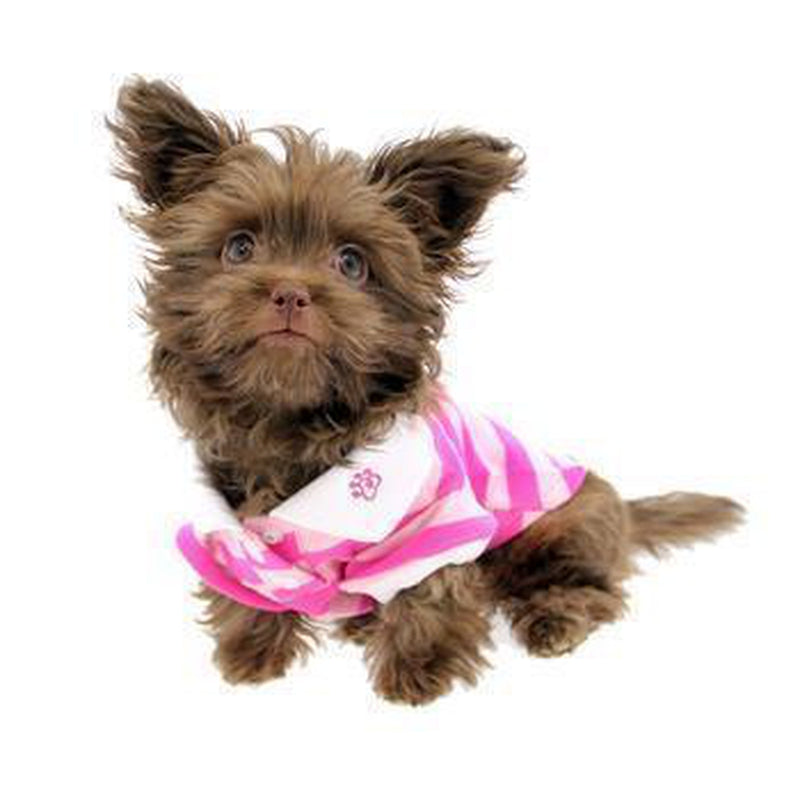 PuppyPAWer Stripe Dog Polo by Dogo - Pink Pet Clothes DOGO