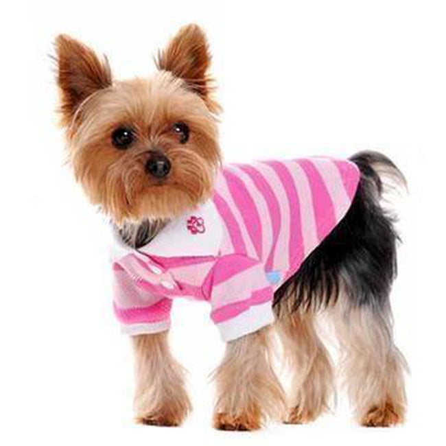 PuppyPAWer Stripe Dog Polo by Dogo - Pink, Pet Clothes, Furbabeez, [tag]