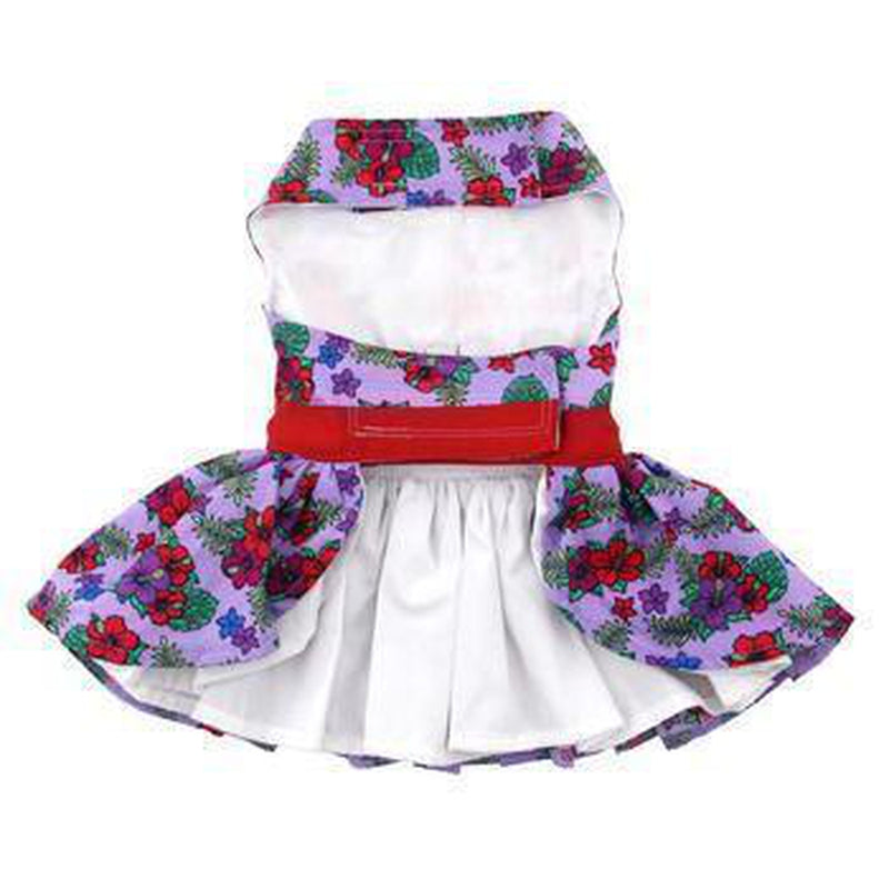 Purple and Red Floral Dog Harness Dress, Pet Clothes, Furbabeez, [tag]