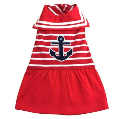 Red Anchor Dog Dress Pet Clothes Worthy Dog