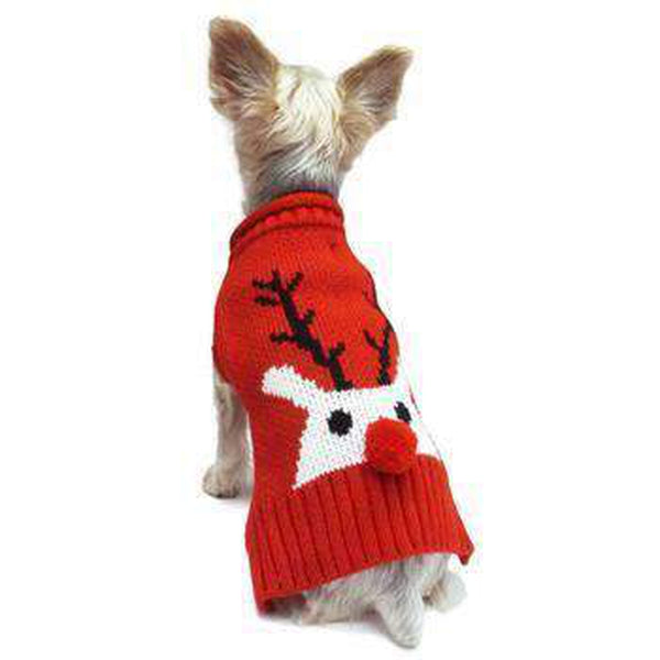 Red Nose Reindeer Dog Sweater, Pet Clothes, Furbabeez, [tag]