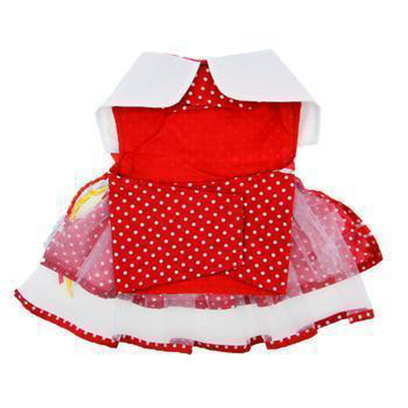Red Polka Dot Balloon Designer Dog Harness Dress, Pet Clothes, Furbabeez, [tag]