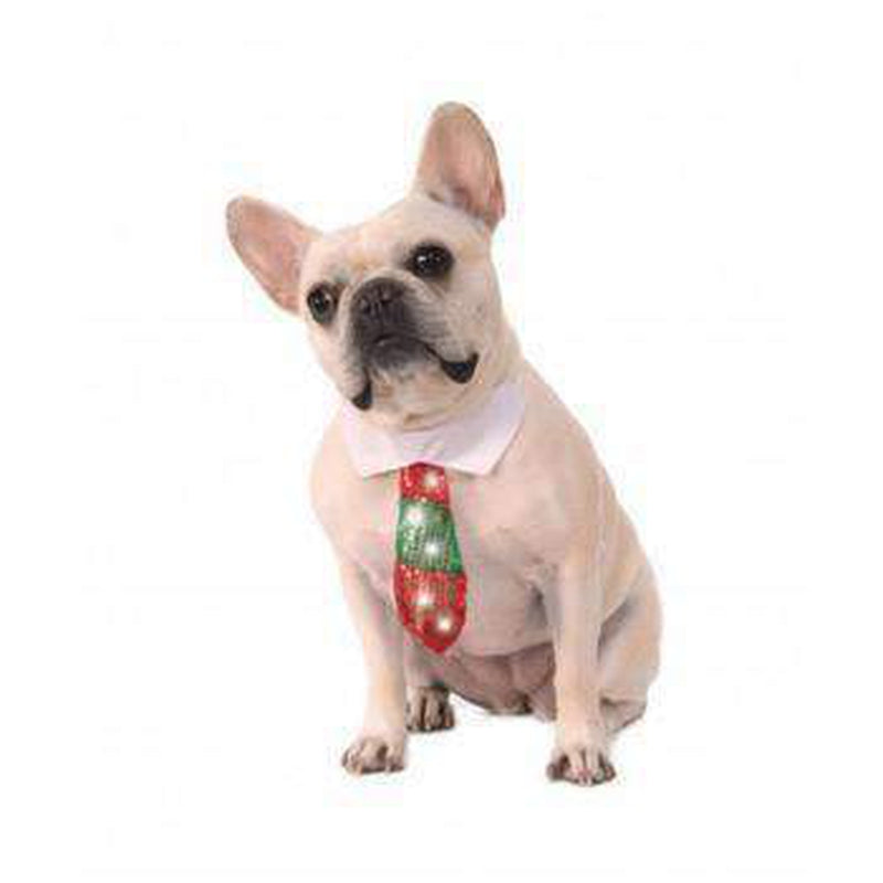 Rubies Reversible Holiday Light Up Necktie Pet Accessories Rubie's Costumes
