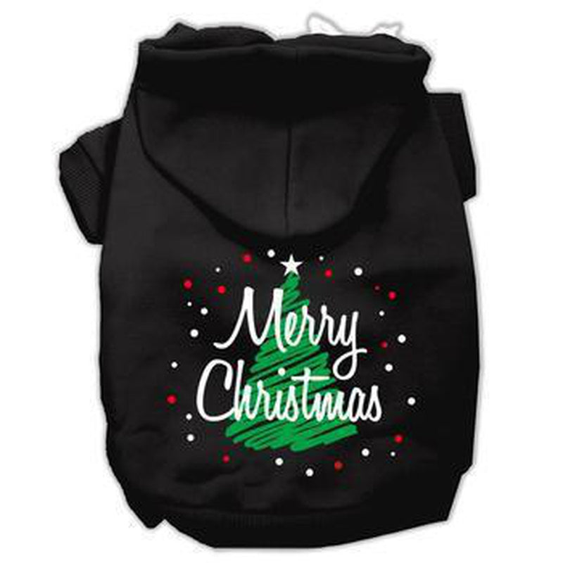 Scribbled Merry Christmas Dog Hoodie - Black Pet Clothes Mirage