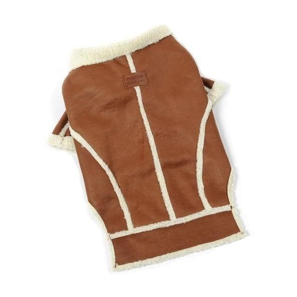 Shearling Dog Coat - Tan Pet Clothes Oberlo S