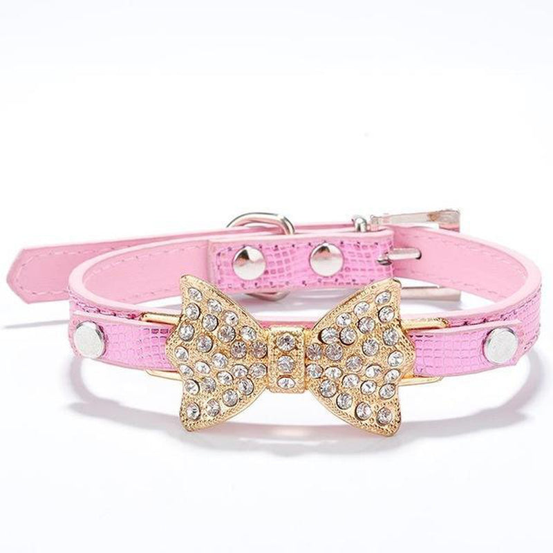 Sparkle Bow Cat Collar Collars and Leads Oberlo US Pink M