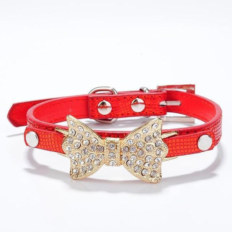 Sparkle Bow Cat Collar Collars and Leads Oberlo US Red M