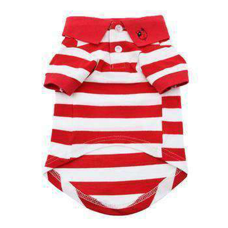 Striped Dog Polo - Flame Scarlet Red and White, Pet Clothes, Furbabeez, [tag]
