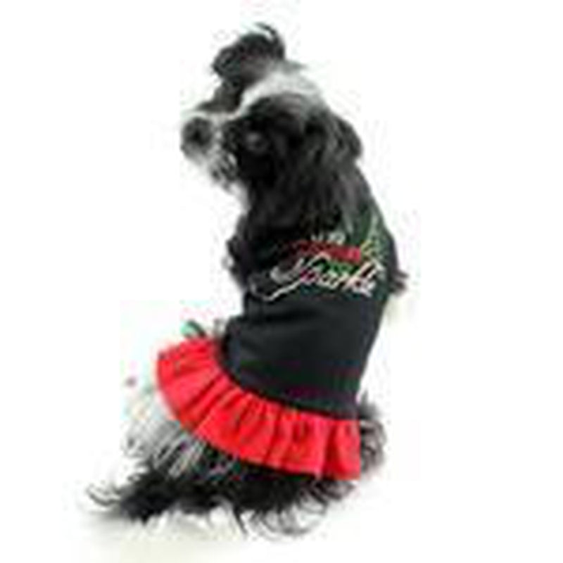 Tis The Season To Sparkle Christmas Rhinestone Dog Dress - Black and Red Pet Clothes Mirage