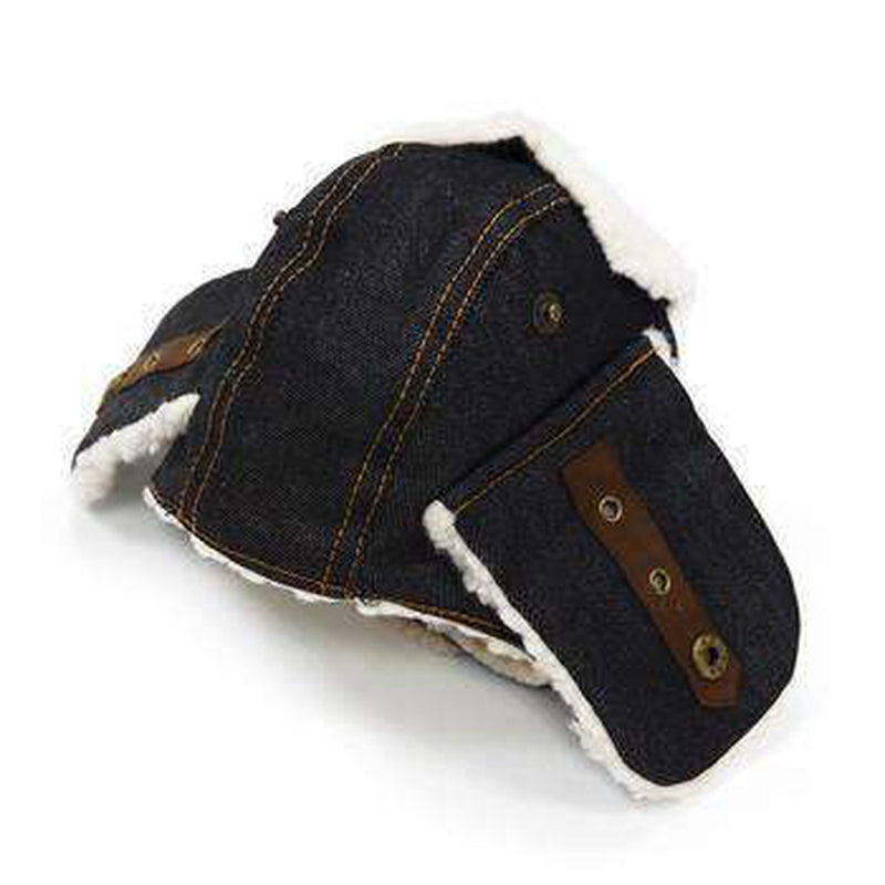 Trapper Dog Hat - Black Denim, Pet Accessories, Furbabeez, [tag]