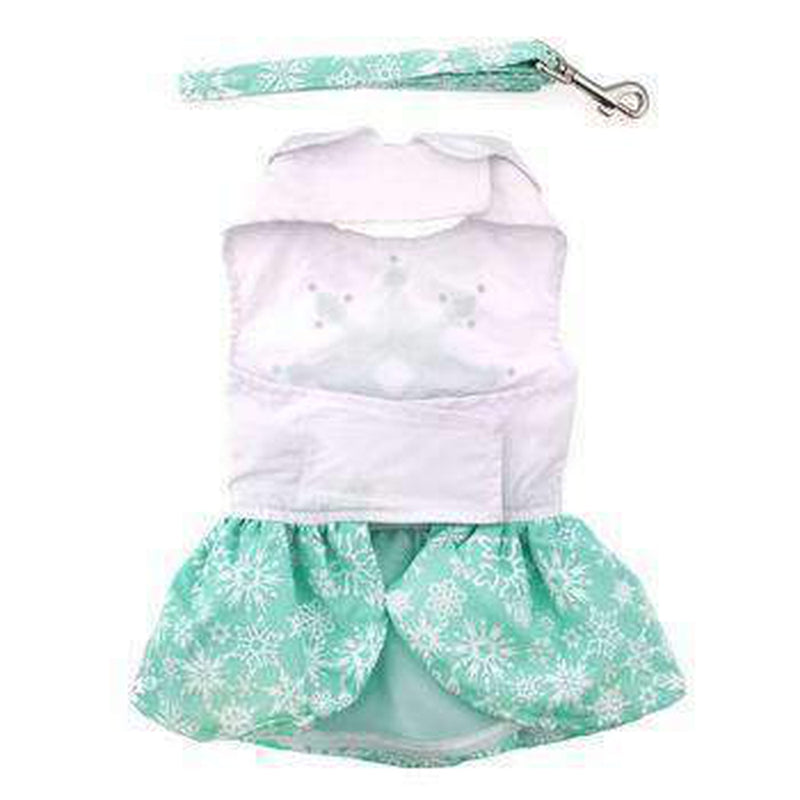 Turquoise Crystal Dog Dress with Matching Leash, Pet Clothes, Furbabeez, [tag]