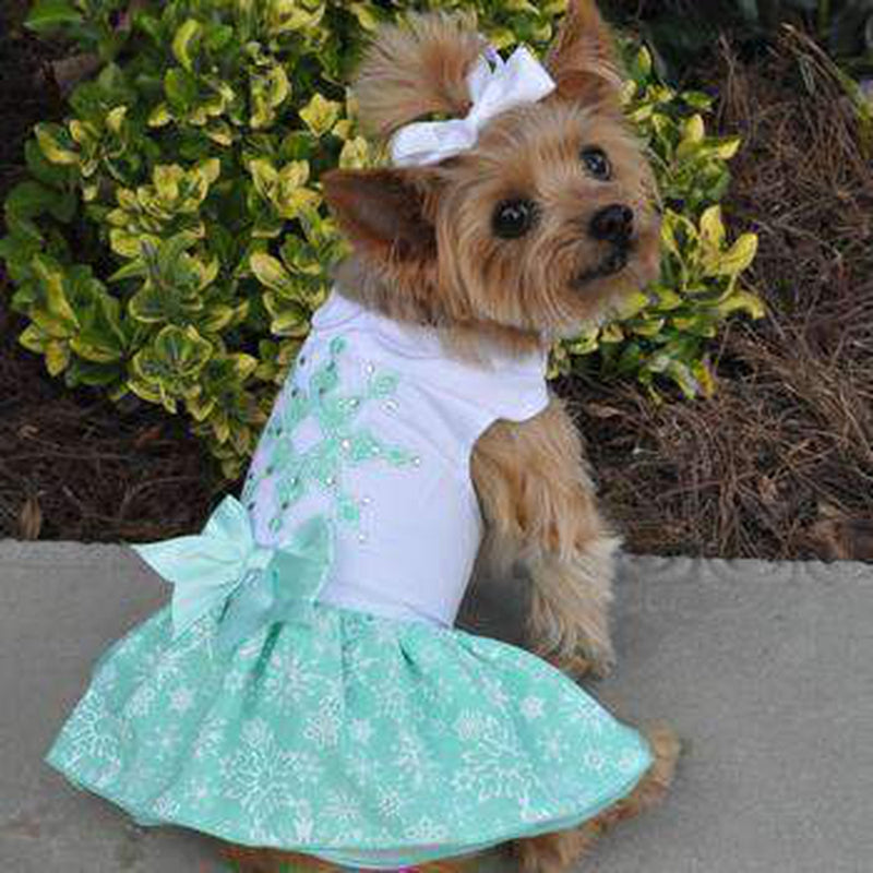 Turquoise Crystal Dog Dress with Matching Leash Pet Clothes Doggie Design