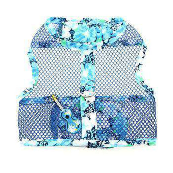 Ukulele Blue Hibiscus Cool Mesh Dog Harness with Matching Leash Collars and Leads Doggie Design