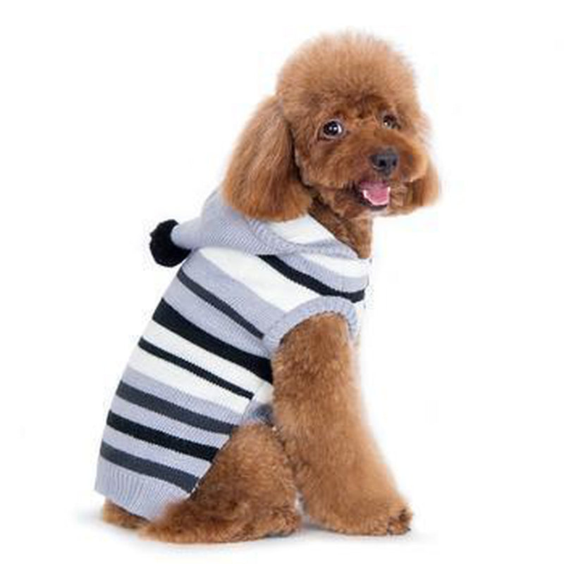 Uneven Stripes Sweater Dog Hoodie - Black, Pet Clothes, Furbabeez, [tag]