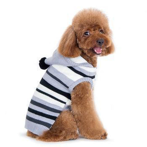 Uneven Stripes Sweater Dog Hoodie - Black