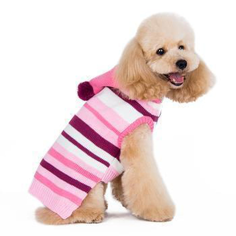 Uneven Stripes Sweater Dog Hoodie - Pink