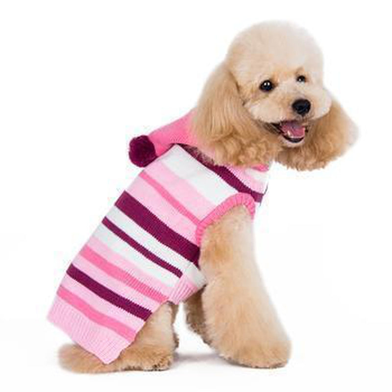Uneven Stripes Sweater Dog Hoodie - Pink Pet Clothes DOGO